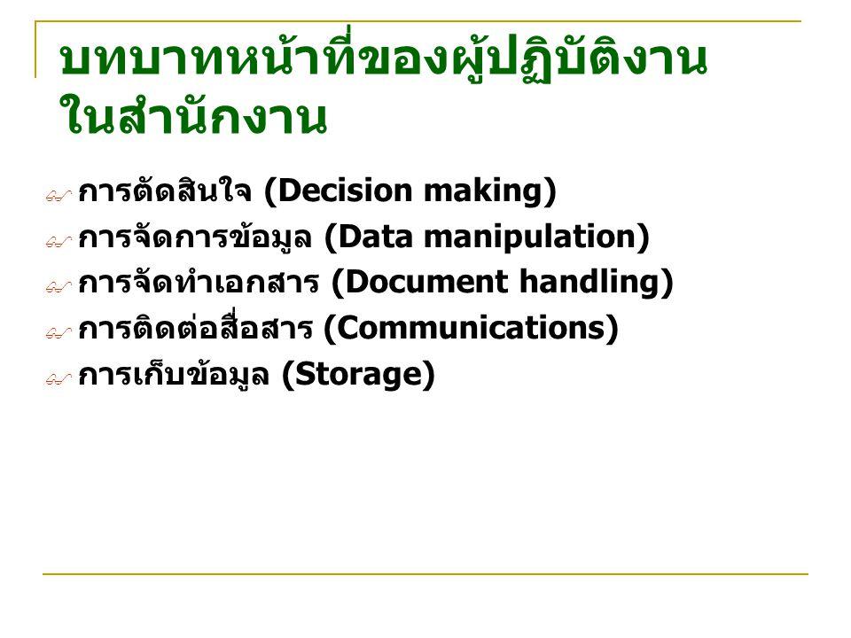 บทบาทหน้าที่ของผู้ปฏิบัติงาน ในสำนักงาน  การตัดสินใจ (Decision making)  การจัดการข้อมูล (Data manipulation)  การจัดทำเอกสาร (Document handling)  ก