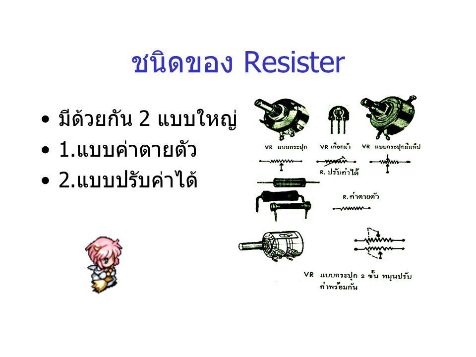ชนิดของ Resister มีด้วยกัน 2 แบบใหญ่ คือ 1. แบบค่าตายตัว 2. แบบปรับค่าได้