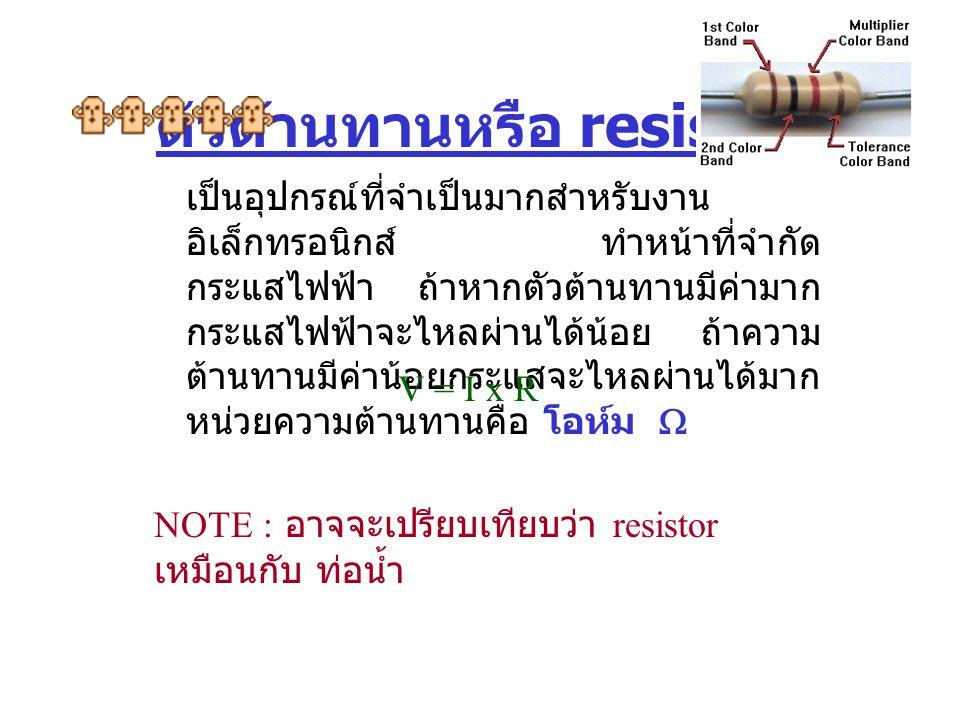 ตัวต้านทานหรือ resistor เป็นอุปกรณ์ที่จำเป็นมากสำหรับงาน อิเล็กทรอนิกส์ ทำหน้าที่จำกัด กระแสไฟฟ้า ถ้าหากตัวต้านทานมีค่ามาก กระแสไฟฟ้าจะไหลผ่านได้น้อย