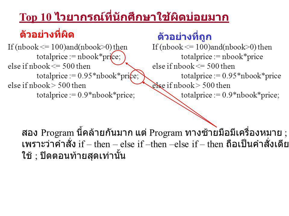 Top 10 ไวยากรณ์ที่นักศึกษาใช้ผิดบ่อยมาก If 0< n <= 100 then totalprice := n*price else if 100 < n <= 500 then totalprice := 0.95*n*price else if n > 500 then totalprice := 0.9*n*price; ตัวอย่างที่ผิด ตัวอย่างที่ถูก If (0<n) and (n <= 100) then totalprice := n*price; else if (100 < n) and (n <= 500) then totalprice := 0.95*n*price; else if n > 500 then totalprice := 0.9*n*price; นักศึกษาชอบเขียนเงื่อนไขเป็น 100 < n <= 500 ซึ่งในทางคณิศาสตร์ไม่ผิด แต่ในทางภาษา Pascal ผิดไวยากรณ์ ที่ถูกต้องแก้เป็น (100<n) and (n<=500) For 1 to n Do ….