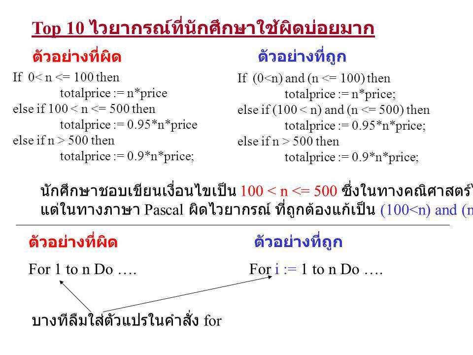 Top 10 ไวยากรณ์ที่นักศึกษาใช้ผิดบ่อยมาก Case n of n <= 100 : totalprice := price*n; n > 100 and n <= 500 : totalprice := price*n*0.95; n > 500 : totalprice := price*n*0.9; End; ตัวอย่างที่ผิด Case n of 1..100 : totalprice := price*n; 101..500 : totalprice := price*n*0.95; Else if n>500 then totalprice := price*n*0.9; End; ตัวอย่างที่ถูก เราไม่สามารถนำการเปรียบเทียบ เช่น n<=100 มาเป็นเงื่อนไข ของคำสั่ง case ได้ เงื่อนไขของคำสั่ง case จะต้องเป็น มีค่าเป็นเลข integer, นิพจน์ทางเลขที่ มีผลลัพธ์เป็นจำนวนเต็ม หรือ character