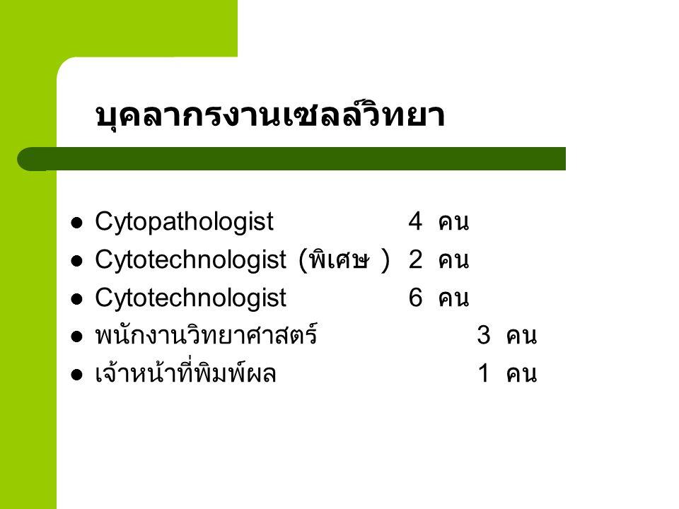 บุคลากรงานเซลล์วิทยา Cytopathologist4 คน Cytotechnologist ( พิเศษ )2 คน Cytotechnologist 6 คน พนักงานวิทยาศาสตร์ 3 คน เจ้าหน้าที่พิมพ์ผล1 คน