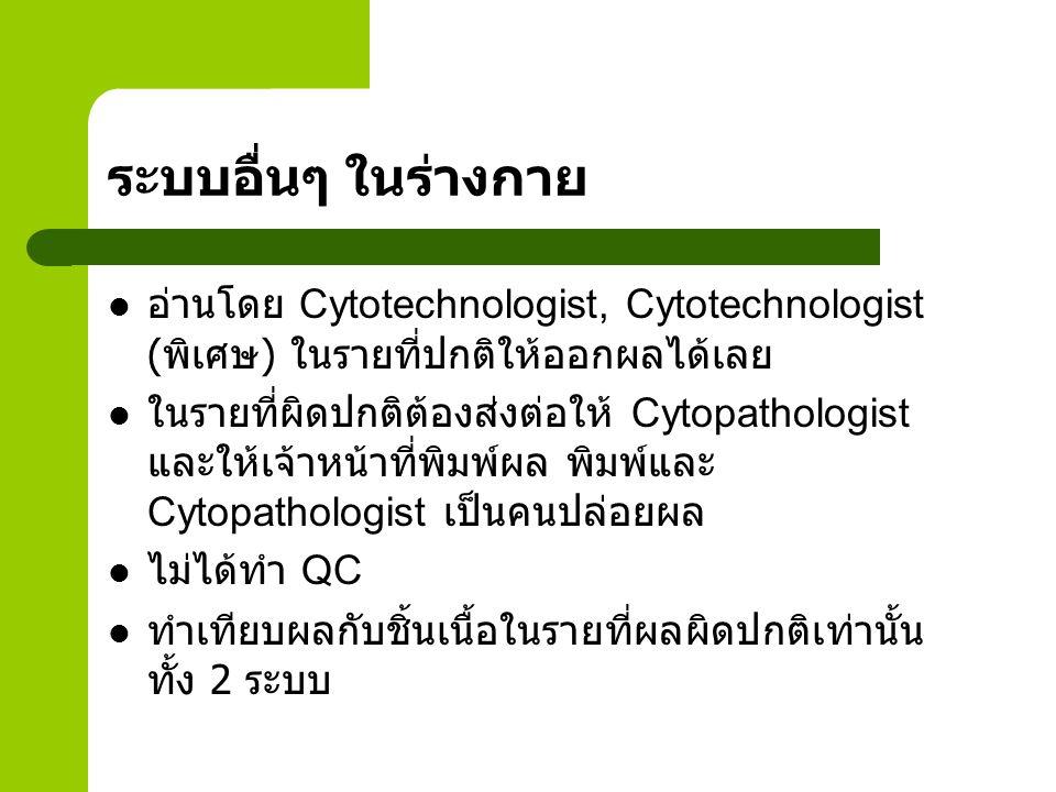 ระบบอื่นๆ ในร่างกาย อ่านโดย Cytotechnologist, Cytotechnologist ( พิเศษ ) ในรายที่ปกติให้ออกผลได้เลย ในรายที่ผิดปกติต้องส่งต่อให้ Cytopathologist และให