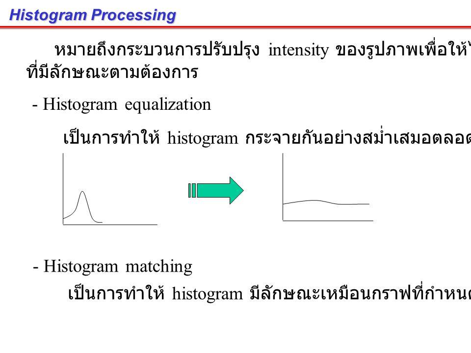 Histogram of an Image (cont.) ภาพที่ low contrast จะมี histogram กระจุกกันอยุ่ใน ช่วงแคบๆ ภาพที่ high contrast จะมี histogram กระจายกันอยุ่ ในช่วงกว้า