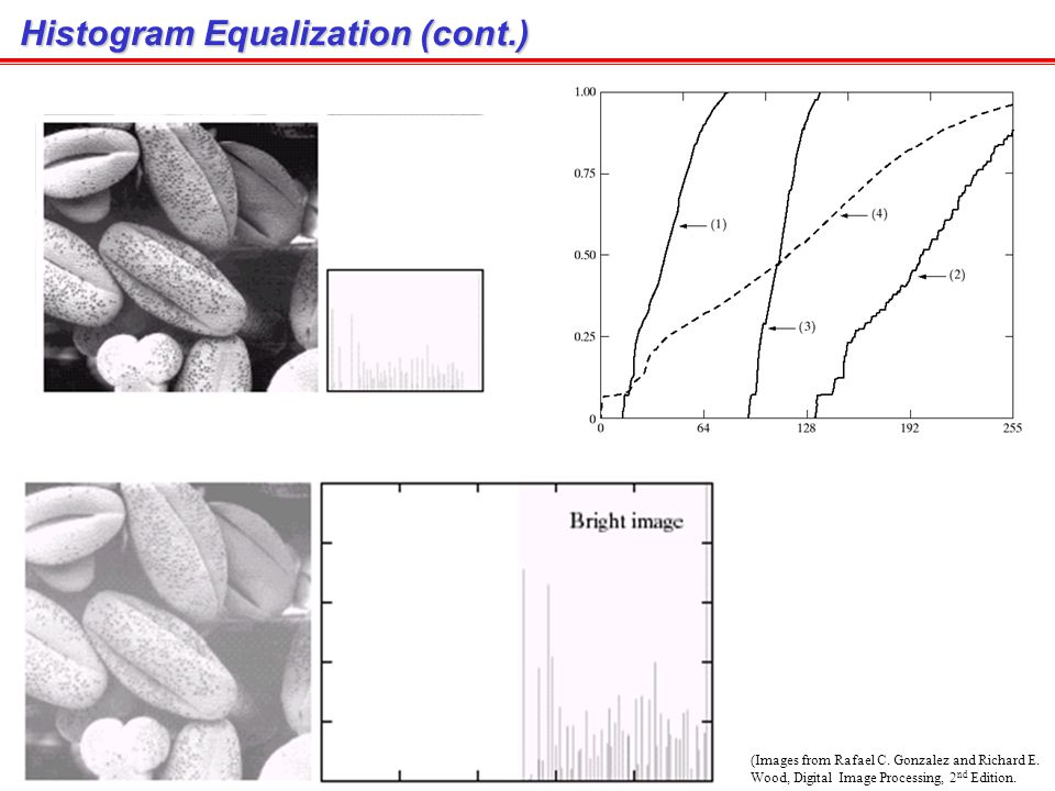 Histogram Equalization (Images from Rafael C. Gonzalez and Richard E. Wood, Digital Image Processing, 2 nd Edition.