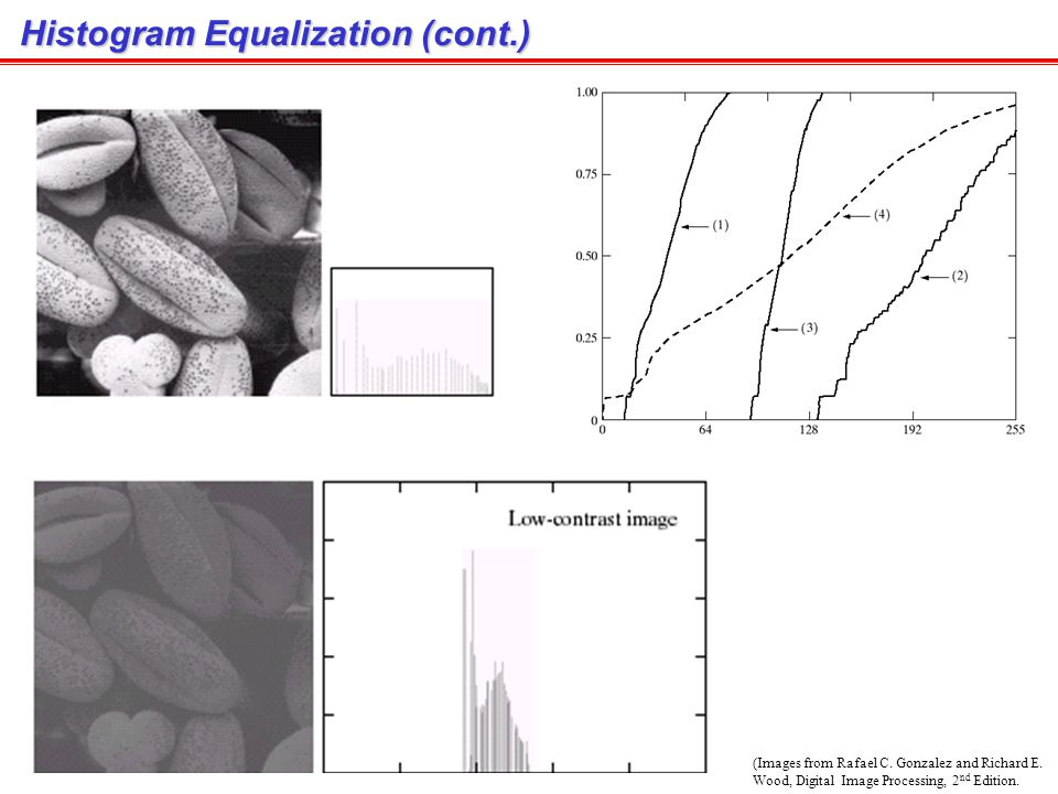 Histogram Equalization (cont.) (Images from Rafael C.