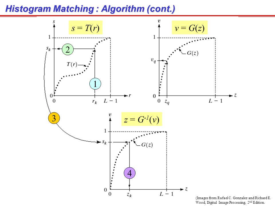 Histogram Matching : Algorithm หลักการ : จาก Histogram equalization เรามี ได้ p s (s) = 1 User ต้องการให้ output image มี PDF เป็น p z (z) เราสามารถใช้สูตรเดียวกันนี้กับ p z (z) จะได้ ซึ่งจะได้ ได้ p v (v) = 1 เนื่องจาก p s (s) = p v (v) = 1 ซึ่งเสมือนว่า s กับ v เป็นตัวแปรเดียวกัน ดังนั้นเราสามารถแปลง r ไปเป็น z ได้จาก r T( ) s G -1 ( ) z เป็นการประมวลผลภาพเพื่อให้ได้ Histogram ของภาพเป็นไปตามกราฟที่ต้องการ