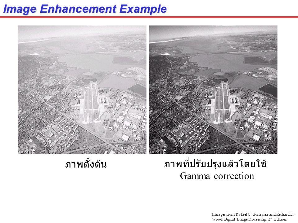 Image Enhancement Image Enhancement หมายถึงการปรับปรุงภาพให้เหมาะสมกับงานเฉพาะทาง ด้านต่างๆ เช่นการทำให้ภาพชัดเจนขึ้น ( ในสายตามนุษย์ ) ตัวอย่าง หมายเหตุ : วิธีการปรับปรุงภาพที่เหมาะสำหรับงานอย่างหนึ่งไม่จำเป็นต้องเหมาะสมกับ งานอีกอย่างหนึ่งเสมอไป (Images from Rafael C.