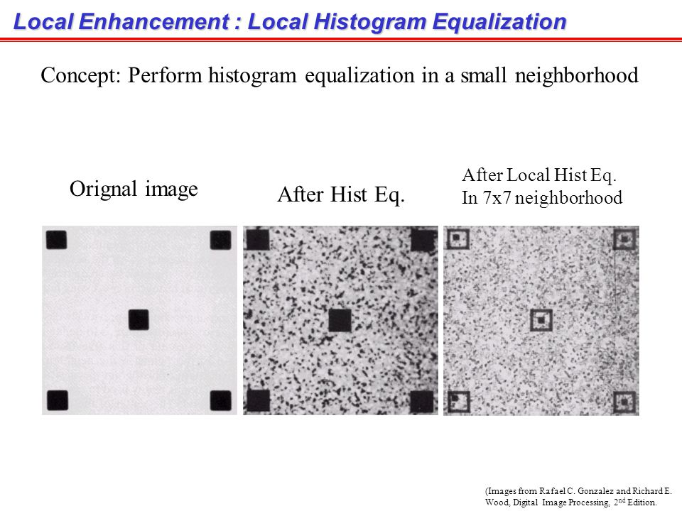 Histogram Matching Example (cont.) Original image After histogram equalization After histogram matching
