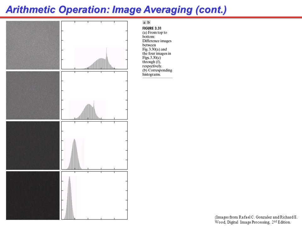 Arithmetic Operation: Image Averaging Application : Noise reduction การทำ average จะทำให้ Variance ของ noise ลดลง Degraded image (noise) Image averagi