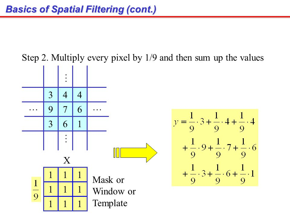 4 4 67 6 1 9 2 2 2 7 5 2 26 4 4 5 212 1 3 3 4 2 9 5 7 7 358222 Pixel z Step 1. Selected only needed pixels 4 67 6 9 1 3 3 4 …… … … Basics of Spatial F