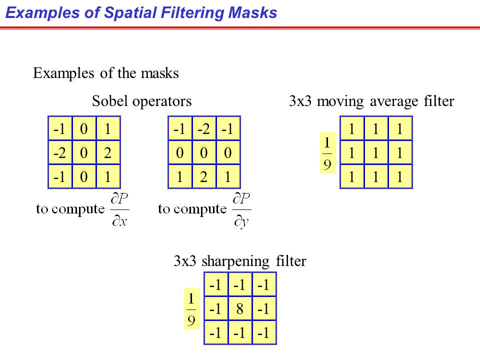 The spatial filtering on the whole image is given by: 1.Move the mask over the image at each location. 2.Compute sum of products between the mask coef
