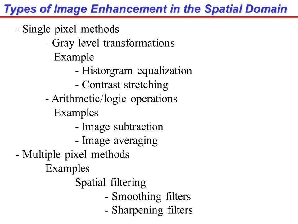 หมายถึงการปรับปรุงภาพโดยใช้กระบวนการที่กระทำใน Spatial domain และให้ ผลลัพธ์ออกมาใน Spatial domain เช่นกัน กล่าวคือ เราสามารถเขียนสูตรในรูป Image Enhancement in the Spatial Domain เมื่อ f(x,y) คือภาพตั้งต้น, g(x,y) คือภาพผลลัพธ์ และ T[ ] คือ Function ที่ถูกกำหนดในพื้นที่รอบๆจุด (x,y) หมายเหตุ : T[ ] อาจจะรับ input เป็นค่า pixel ที่ตำแหน่ง (x,y) อย่างเดียว หรือ input จะเป็นค่า pixel ใน Neighbors ของจุด (x,y) ขนาดใดๆก็ได้ ตามแต่ลักษณะของ Function นั้นๆเช่น การปรับความสว่างของภาพ มี input เป็นค่าของ pixel (x,y) อย่างเดียว การทำภาพเบลอโดยใช้ smoothing filter ต้องใช้ input จาก pixel หลายๆ pixel รอบๆจุด (x,y)