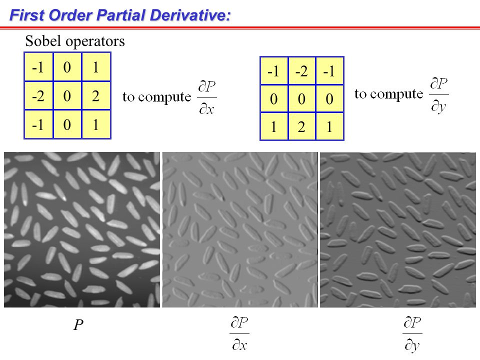 First Order Derivative Intensity profile 1 st derivative 2 nd derivative p(x)p(x) Edges