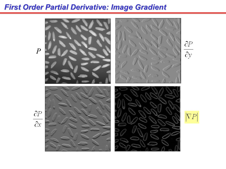 First Order Partial Derivative: Image Gradient Gradient magnitude A gradient image emphasizes edges (Images from Rafael C. Gonzalez and Richard E. Woo