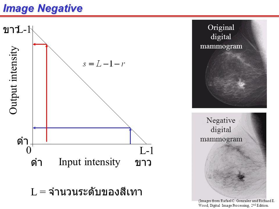 Image Negative ดำขาว ดำ Input intensity Output intensity Original digital mammogram L = จำนวนระดับของสีเทา 0 L-1 Negative digital mammogram (Images from Rafael C.