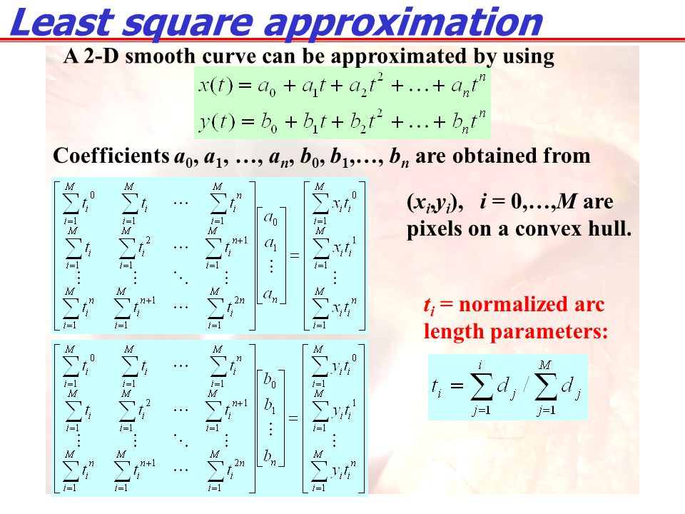 Coefficients a 0, a 1, …, a n, b 0, b 1,…, b n are obtained from Least square approximation A 2-D smooth curve can be approximated by using (x i,y i )