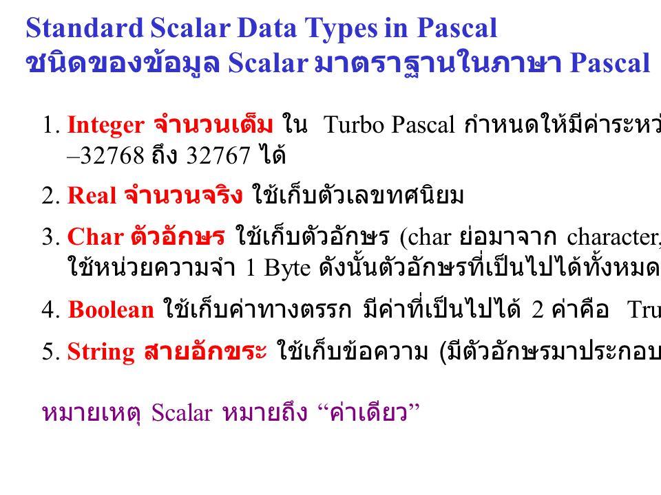 Standard Scalar Data Types in Pascal ชนิดของข้อมูล Scalar มาตราฐานในภาษา Pascal 1. Integer จำนวนเต็ม ใน Turbo Pascal กำหนดให้มีค่าระหว่าง –32768 ถึง 3