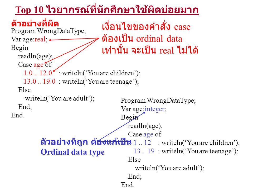 Top 10 ไวยากรณ์ที่นักศึกษาใช้ผิดบ่อยมาก Program WrongDataType; Var age:real; Begin readln(age); Case age of 1.0.. 12.0 : writeln('You are children');
