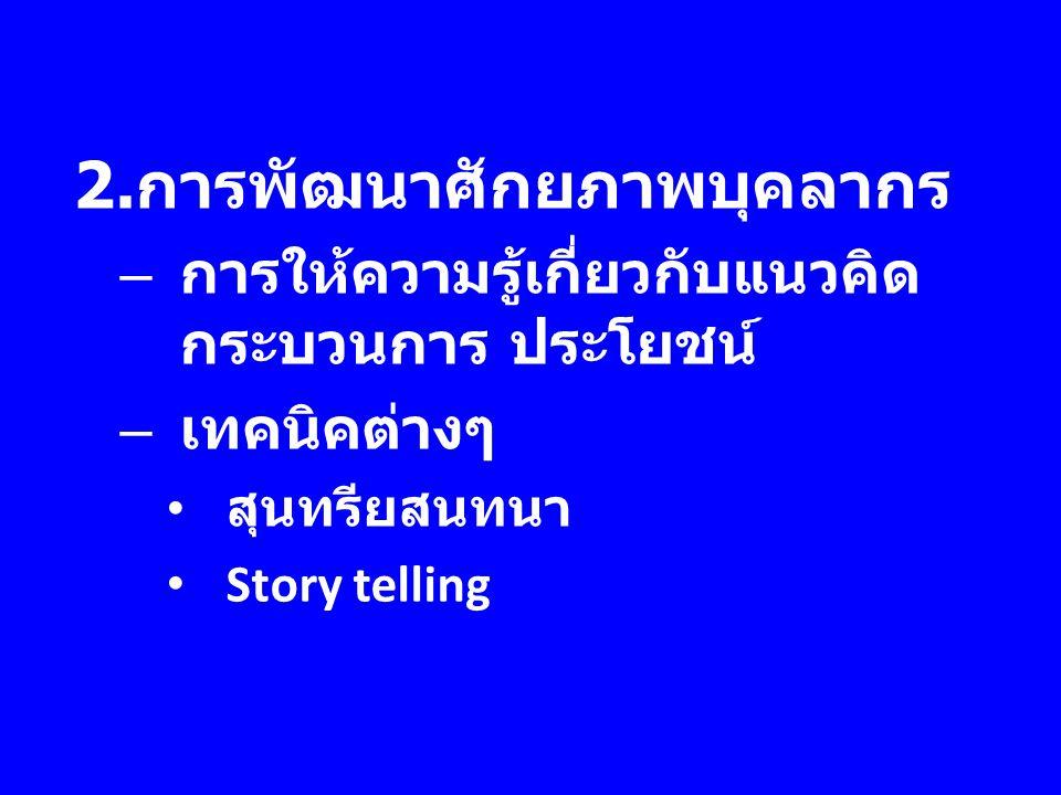 2. การพัฒนาศักยภาพบุคลากร – การให้ความรู้เกี่ยวกับแนวคิด กระบวนการ ประโยชน์ – เทคนิคต่างๆ สุนทรียสนทนา Story telling