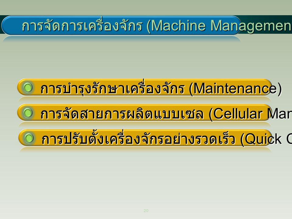 20 การจัดการเครื่องจักร (Machine Management) การบำรุงรักษาเครื่องจักร (Maintenance) การจัดสายการผลิตแบบเซล (Cellular Manufacturing) การปรับตั้งเครื่อง