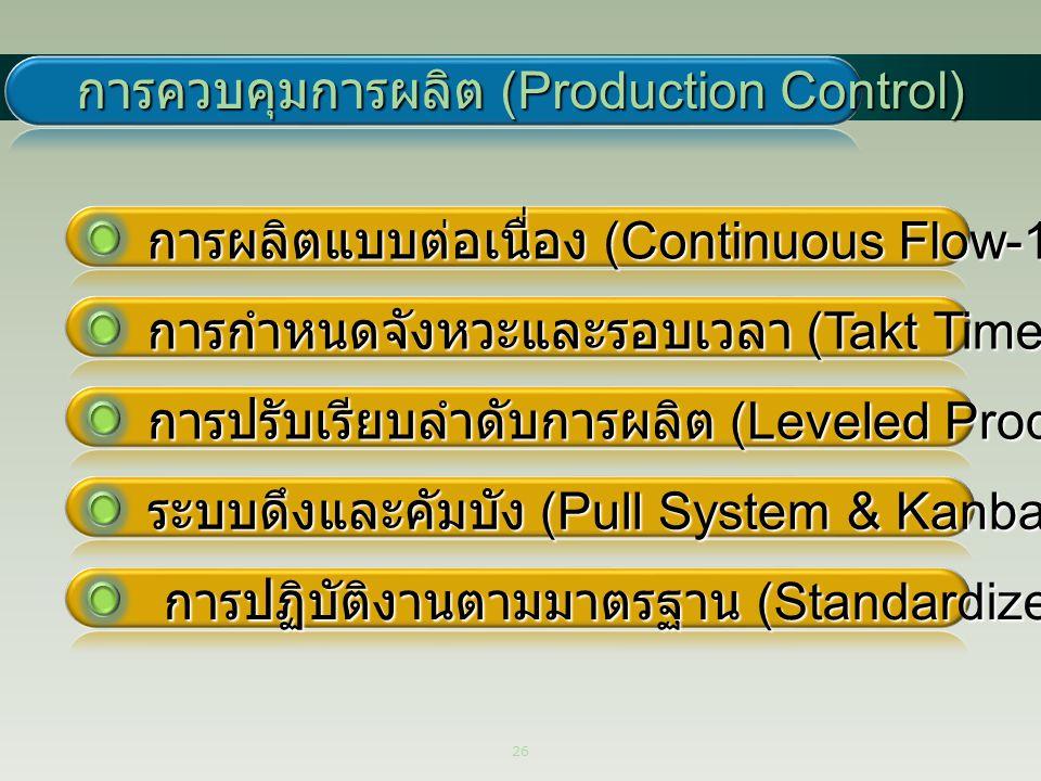 26 การควบคุมการผลิต (Production Control) ระบบดึงและคัมบัง (Pull System & Kanban) การปรับเรียบลำดับการผลิต (Leveled Production) การผลิตแบบต่อเนื่อง (Co