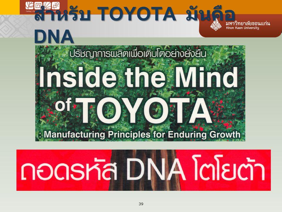 สำหรับ TOYOTA มันคือ DNA 39