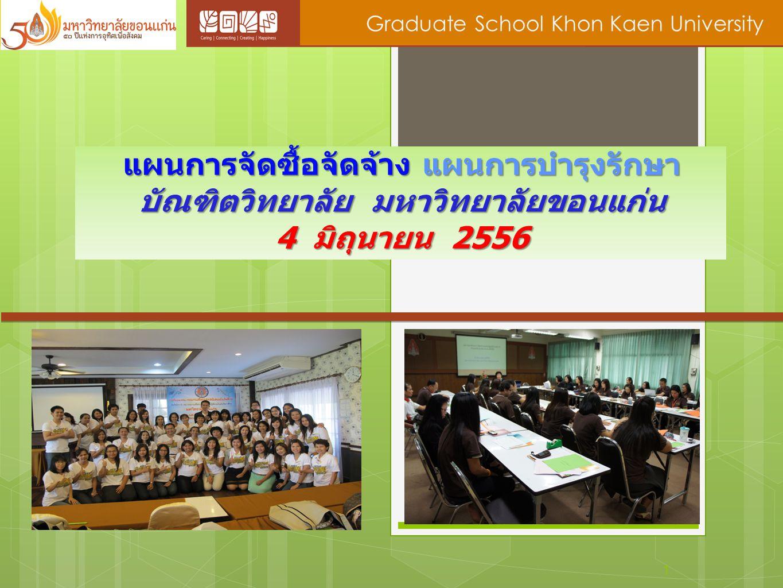 แผนการจัดซื้อจัดจ้าง แผนการบำรุงรักษา บัณฑิตวิทยาลัย มหาวิทยาลัยขอนแก่น 4 มิถุนายน 2556 1 Graduate School Khon Kaen University