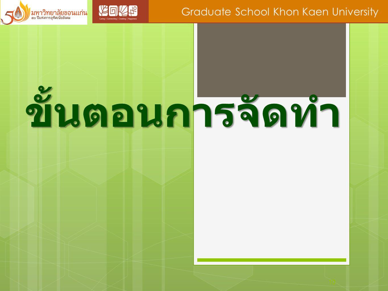 10 Graduate School Khon Kaen University ขั้นตอนการจัดทำ