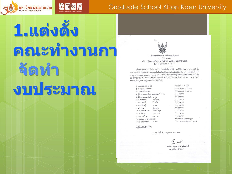 11 Graduate School Khon Kaen University 1. แต่งตั้ง คณะทำงานการ จัดทำ งบประมาณ จัดทำ งบประมาณ