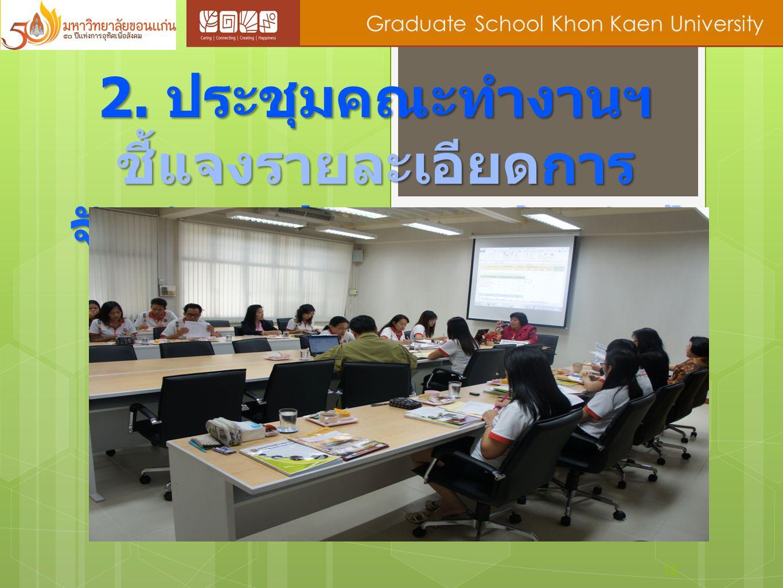12 Graduate School Khon Kaen University 2. ประชุมคณะทำงานฯ ชี้แจงรายละเอียดการ จัดทำงบประมาณประจำปี