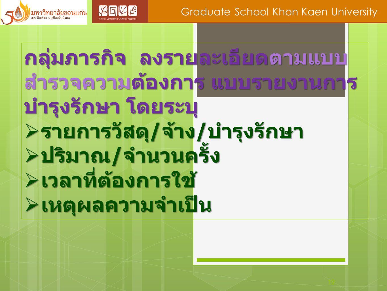 19 Graduate School Khon Kaen University กลุ่มภารกิจ ลงรายละเอียดตามแบบ สำรวจความต้องการ แบบรายงานการ บำรุงรักษา โดยระบุ  รายการวัสดุ / จ้าง / บำรุงรั