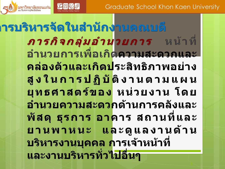 3 Graduate School Khon Kaen University การบริหารจัดในสำนักงานคณบดี ภารกิจกลุ่มอำนวยการ ภารกิจกลุ่มอำนวยการ หน้าที่ อำนวยการเพื่อเกิดความสะดวกและ คล่อง