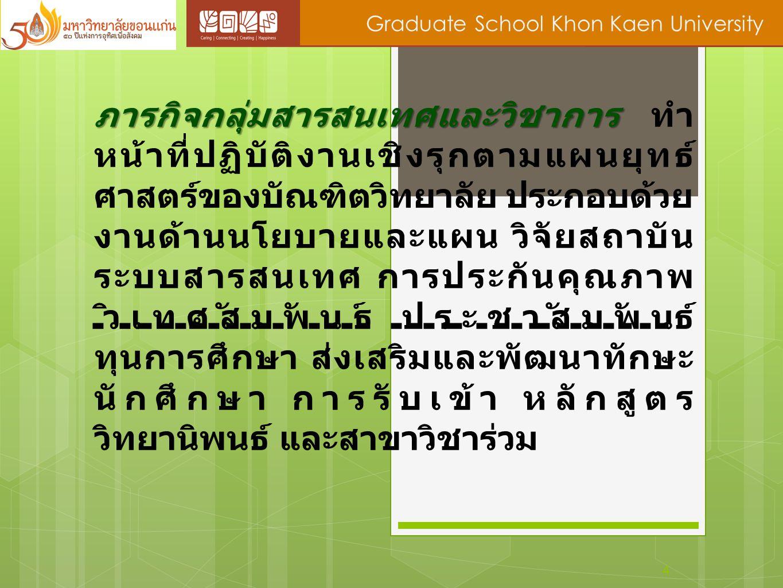 4 Graduate School Khon Kaen University ภารกิจกลุ่มสารสนเทศและวิชาการ ภารกิจกลุ่มสารสนเทศและวิชาการ ทำ หน้าที่ปฏิบัติงานเชิงรุกตามแผนยุทธ์ ศาสตร์ของบัณ