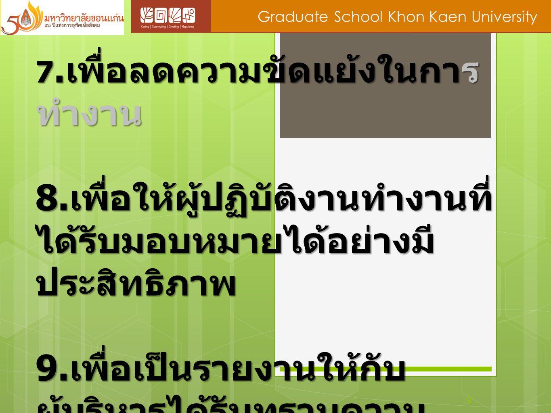 9 Graduate School Khon Kaen University 7. เพื่อลดความขัดแย้งในการ ทำงาน 8. เพื่อให้ผู้ปฏิบัติงานทำงานที่ ได้รับมอบหมายได้อย่างมี ประสิทธิภาพ 9. เพื่อเ