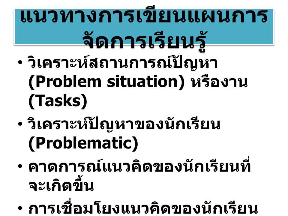 แนวทางการเขียนแผนการ จัดการเรียนรู้ วิเคราะห์สถานการณ์ปัญหา (Problem situation) หรืองาน (Tasks) วิเคราะห์ปัญหาของนักเรียน (Problematic) คาดการณ์แนวคิด