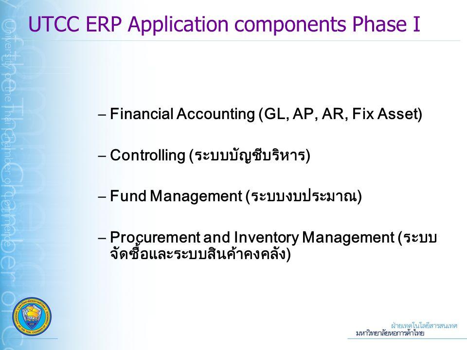 –Financial Accounting (GL, AP, AR, Fix Asset) –Controlling (ระบบบัญชีบริหาร) –Fund Management (ระบบงบประมาณ) –Procurement and Inventory Management (ระบบ จัดซื้อและระบบสินค้าคงคลัง) UTCC ERP Application components Phase I