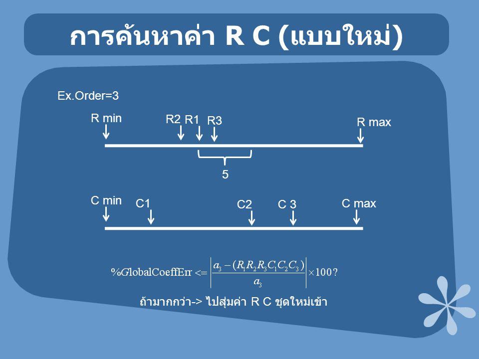 การค้นหาค่า R C ( แบบใหม่ ) Ex.Order=3 R min R max C min C max 5 R1 R2 R3 C1 C2C 3 ถ้ามากกว่า -> ไปสุ่มค่า R C ชุดใหม่เข้า