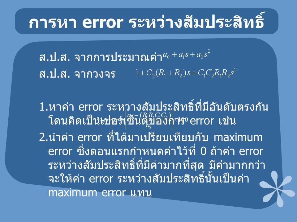 การหา error ระหว่างสัมประสิทธิ์ ส. ป. ส. จากการประมาณค่า ส. ป. ส. จากวงจร 1. หาค่า error ระหว่างสัมประสิทธิ์ที่มีอันดับตรงกัน โดนคิดเป็นเปอร์เซ็นต์ของ