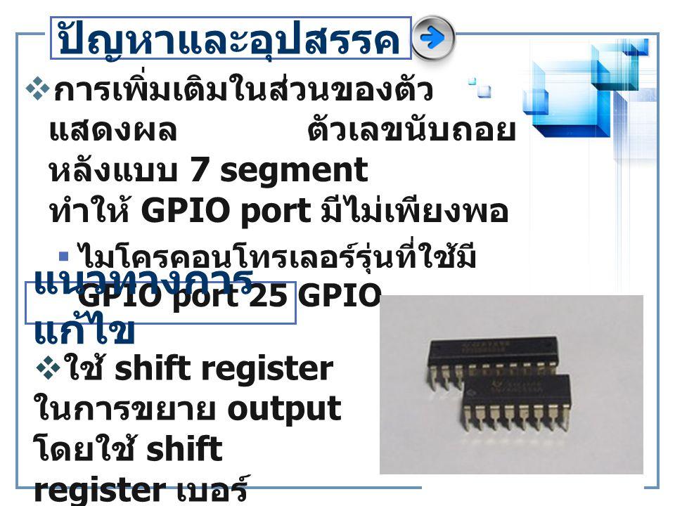 ปัญหาและอุปสรรค  การเพิ่มเติมในส่วนของตัว แสดงผล ตัวเลขนับถอย หลังแบบ 7 segment ทำให้ GPIO port มีไม่เพียงพอ  ไมโครคอนโทรเลอร์รุ่นที่ใช้มี GPIO port