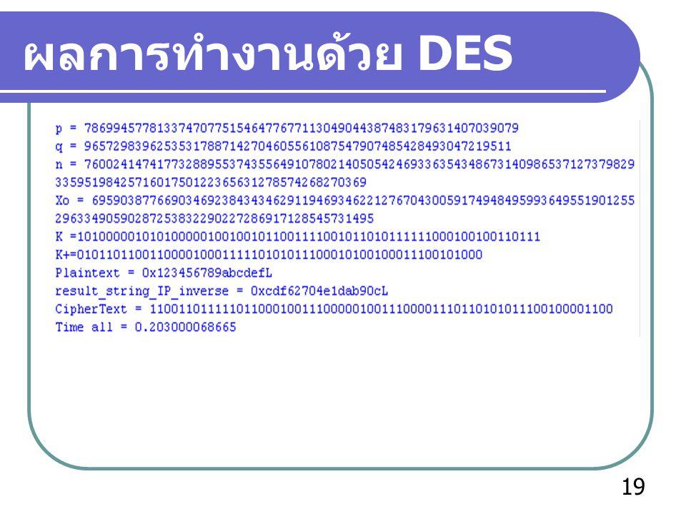 ผลการทำงานด้วย DES 19