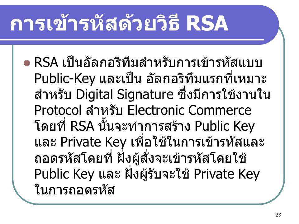 การเข้ารหัสด้วยวิธี RSA RSA เป็นอัลกอริทึมสำหรับการเข้ารหัสแบบ Public-Key และเป็น อัลกอริทึมแรกที่เหมาะ สำหรับ Digital Signature ซึ่งมีการใช้งานใน Pro