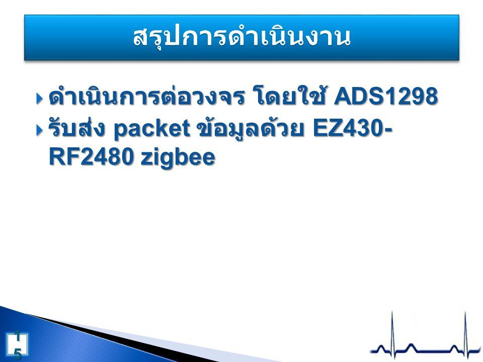  ดำเนินการต่อวงจร โดยใช้ ADS1298  รับส่ง packet ข้อมูลด้วย EZ430- RF2480 zigbee 15 1515