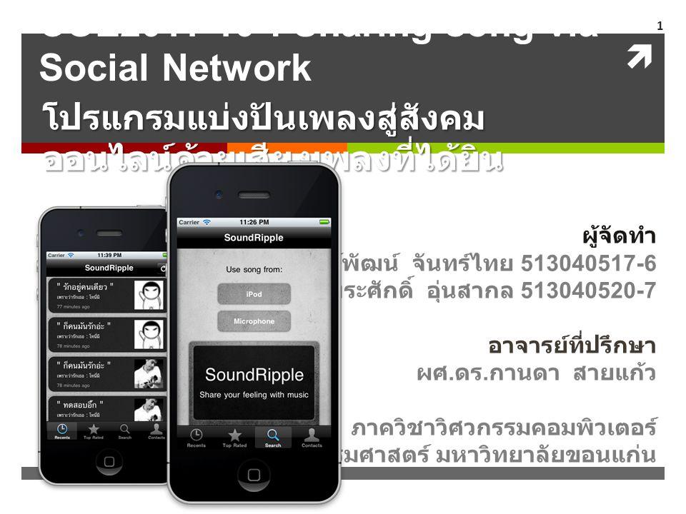  COE2011-10 : Sharing song via Social Network โปรแกรมแบ่งปันเพลงสู่สังคม ออนไลน์ด้วยเสียงเพลงที่ได้ยิน ผู้จัดทำ นายพงษ์พัฒน์ จันทร์ไทย 513040517-6 นา
