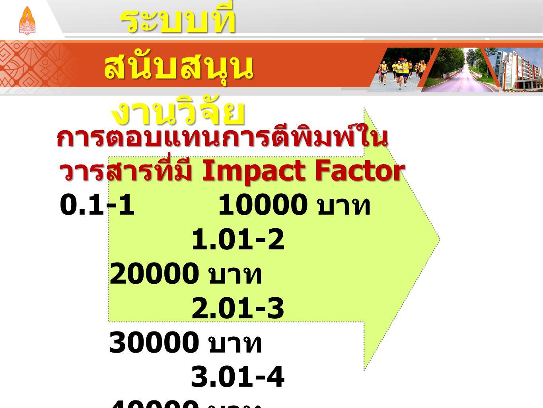 การตอบแทนการตีพิมพ์ใน วารสารที่มี Impact Factor การตอบแทนการตีพิมพ์ใน วารสารที่มี Impact Factor 0.1-110000 บาท 1.01-2 20000 บาท 2.01-3 30000 บาท 3.01-