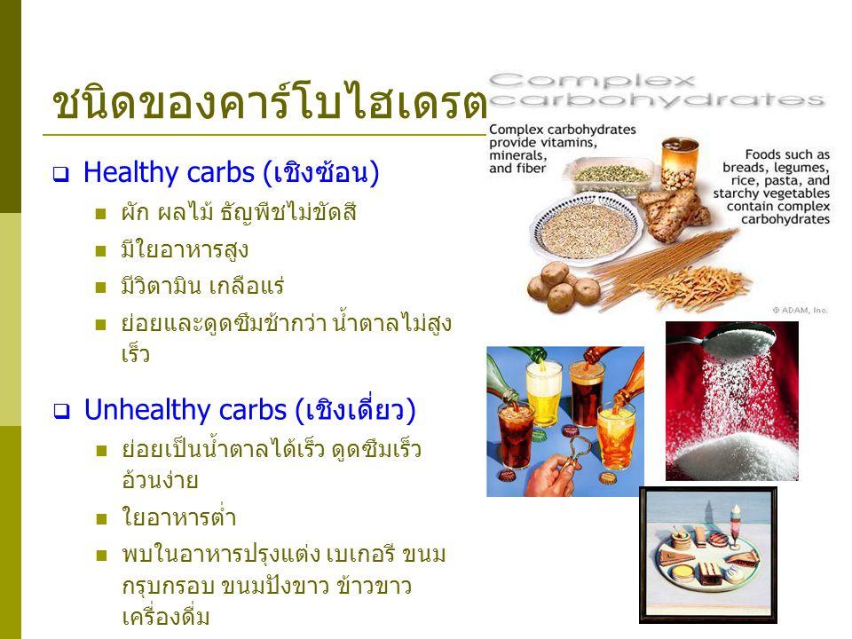 ชนิดของคาร์โบไฮเดรต  Healthy carbs (เชิงซ้อน) ผัก ผลไม้ ธัญพืชไม่ขัดสี มีใยอาหารสูง มีวิตามิน เกลือแร่ ย่อยและดูดซึมช้ากว่า น้ำตาลไม่สูง เร็ว  Unhea
