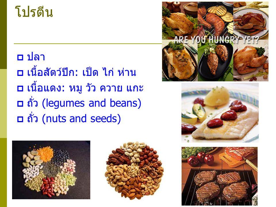 โปรตีน  ปลา  เนื้อสัตว์ปีก: เป็ด ไก่ ห่าน  เนื้อแดง: หมู วัว ควาย แกะ  ถั่ว (legumes and beans)  ถั่ว (nuts and seeds)