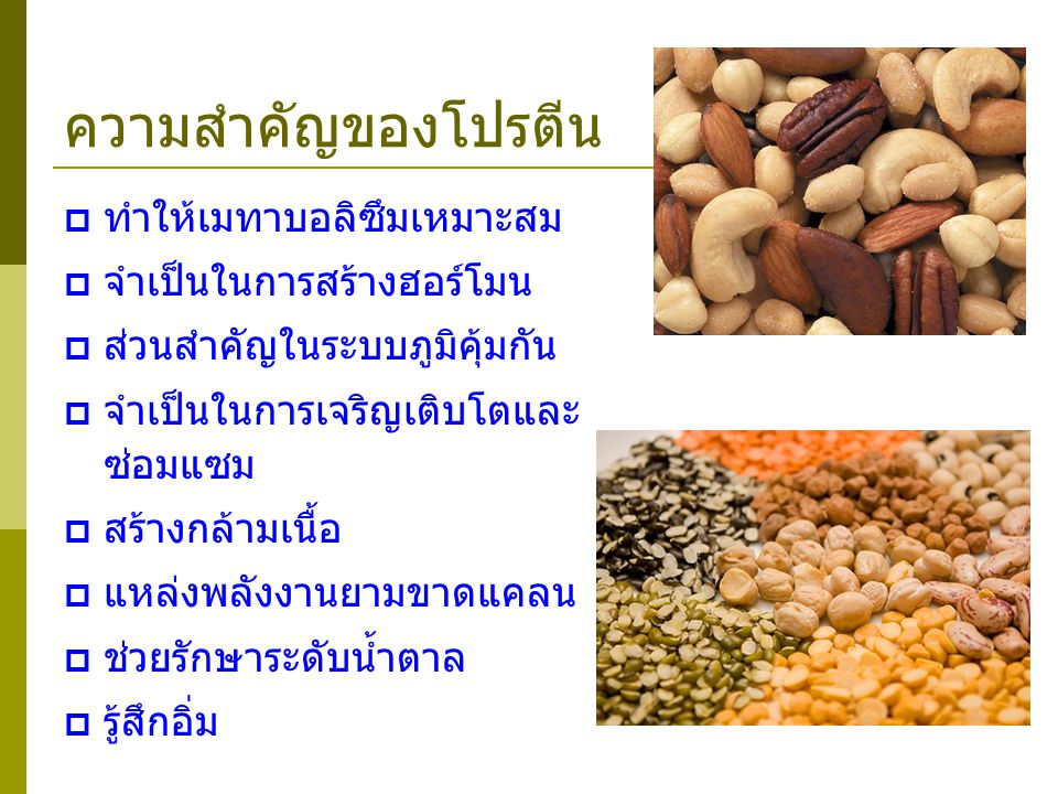 คุณภาพโปรตีน Net Protein Utilization (NPU) % of ingested food protein that is actually used by the body.