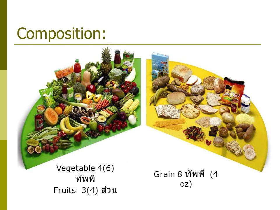 Composition: Vegetable 4(6) ทัพพี Fruits3(4) ส่วน Grain 8 ทัพพี (4 oz)