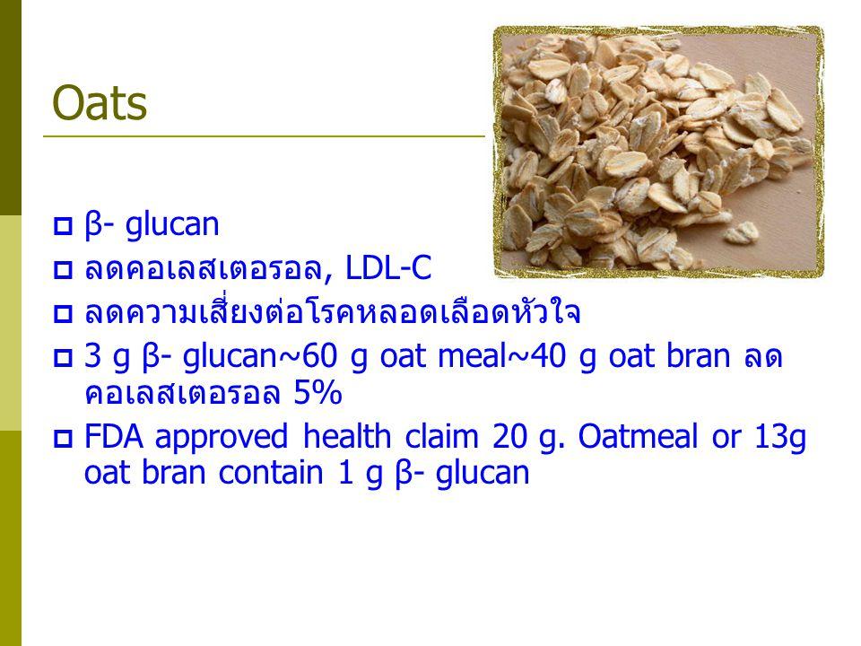 Oats  β- glucan  ลดคอเลสเตอรอล, LDL-C  ลดความเสี่ยงต่อโรคหลอดเลือดหัวใจ  3 g β- glucan~60 g oat meal~40 g oat bran ลด คอเลสเตอรอล 5%  FDA approve